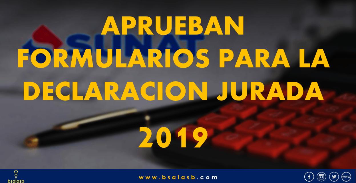 SUNAT: Aprueban formularios para la Declaración Anual 2019