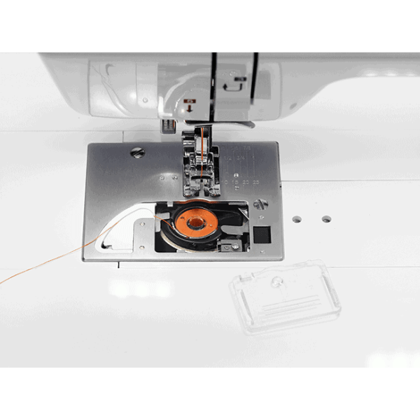 Quick-Set, Top-Loading Bobbin - No more struggling with bobbin changes midway through a project.  Simply drop in a new bobbin, pull your thread through the guide and Jazz does the rest. (BLMJZ)