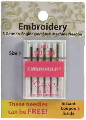 Klasse Embroidery Needles Size 90/14