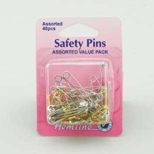 Hemline Assorted Metal Safety Pins 48ct