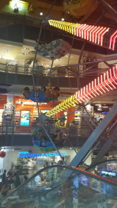 We had grand ideas about riding the indoor ferris wheel - until we saw the line