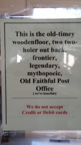 Sign at the post office.
