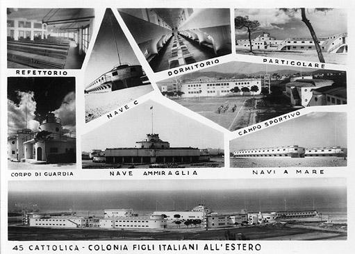 """Ex colonia """"Le Navi"""" a Cattolica. Cartolina d'epoca."""