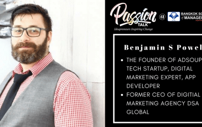 Date: May 15th  Passion Talk – Ideapreneurs Inspiring Change Serial Events:  Meet Benjamin S Powell – The Founder of Adsoup, tech startup, Digital Marketing expert, app developer