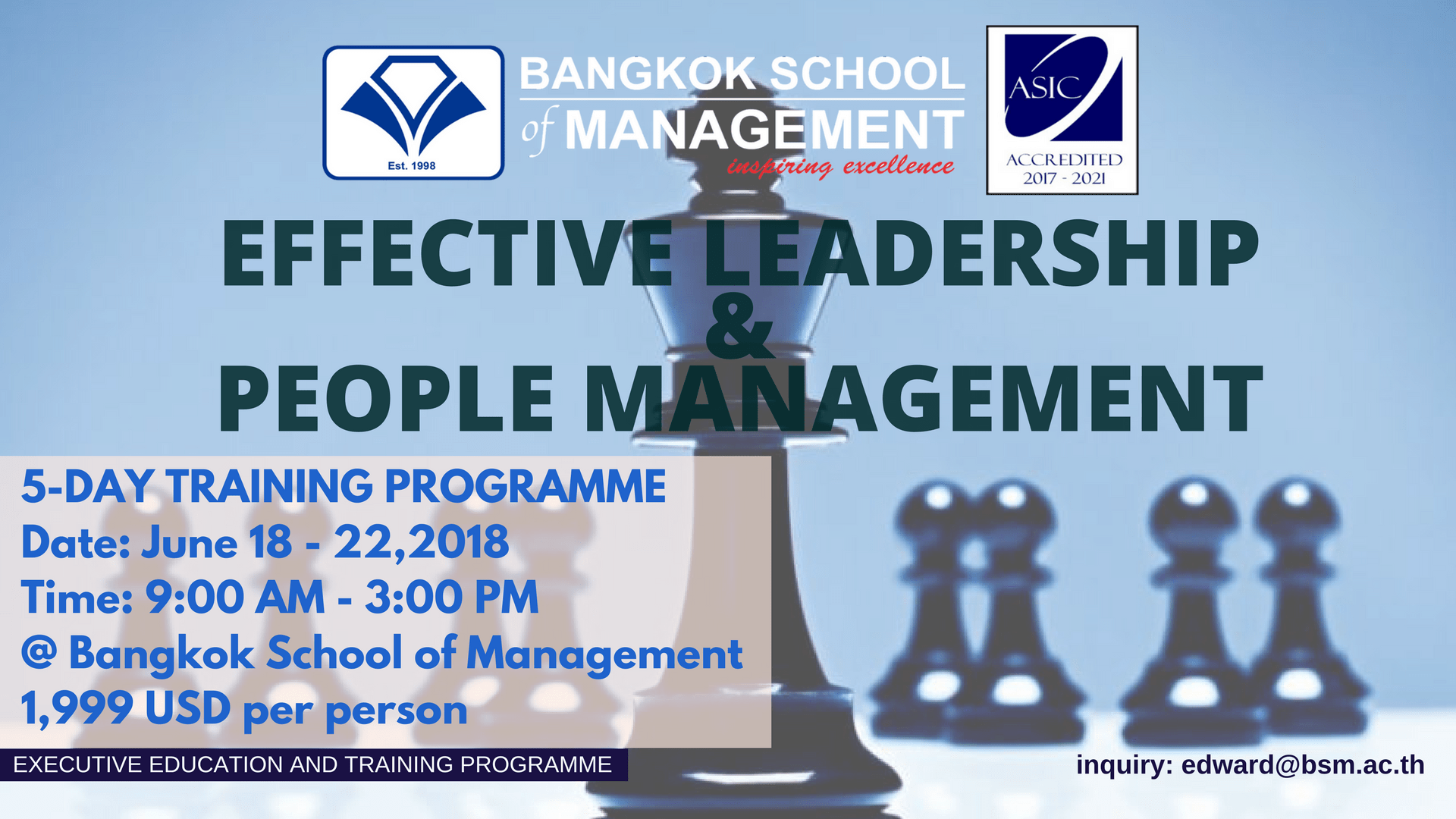 Date: June 18th -22nd <br></br> Effective Leadership &#038; People Management