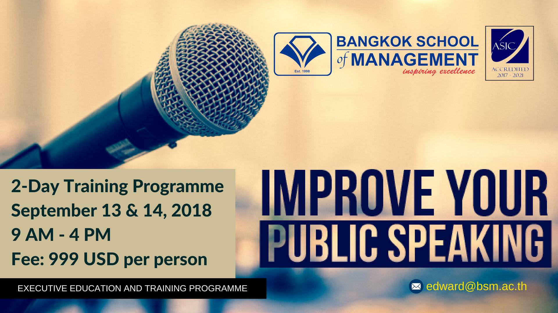 Date: September 13th – 14th  Public Speaking