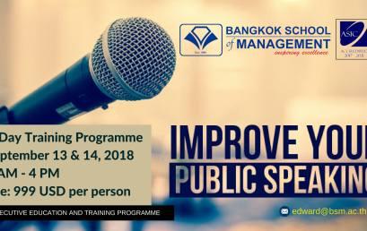 Date: September 13th – 14th  Public Speaking