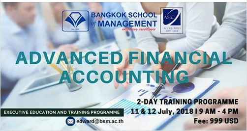 Date: July 11th-12th 2018  Advanced Financial Accounting