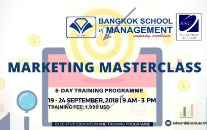 Date: September 19th – 24th  Training Programme: Marketing Masterclass