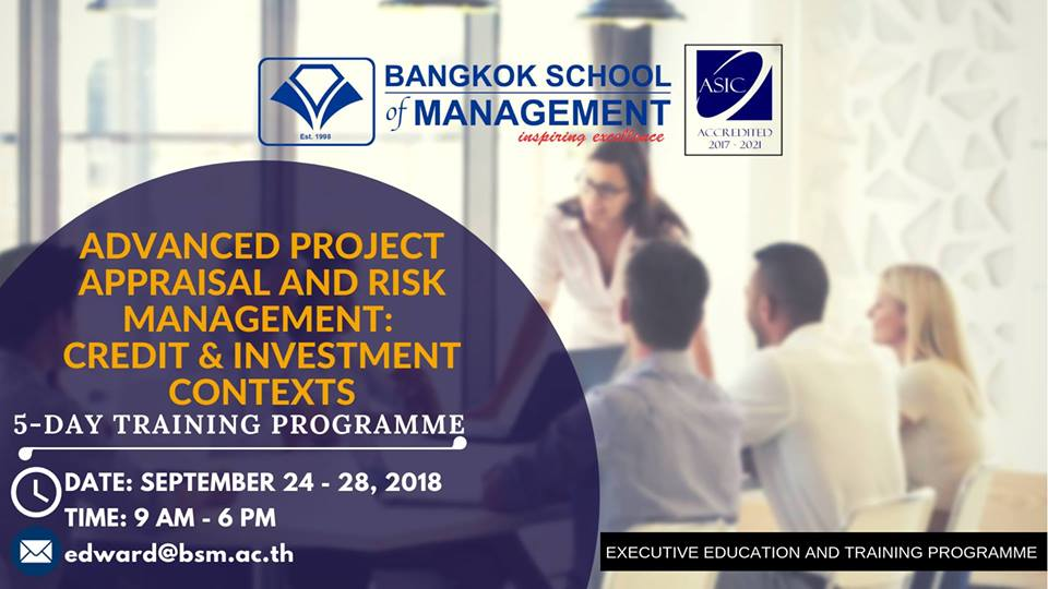 Date: September 24 – 28, 2018  Advanced Project Appraisal and Risk Management