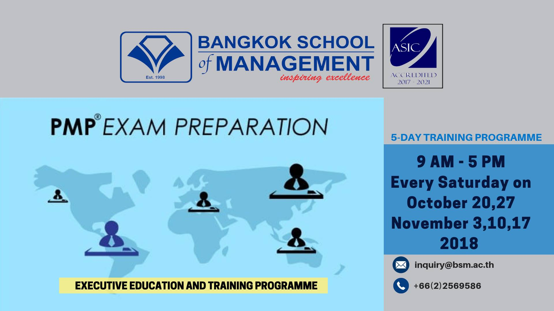 Date: October 20 &#038; November 3,10 and 17 <br><br>Training Programme: PMP Exam Preparation