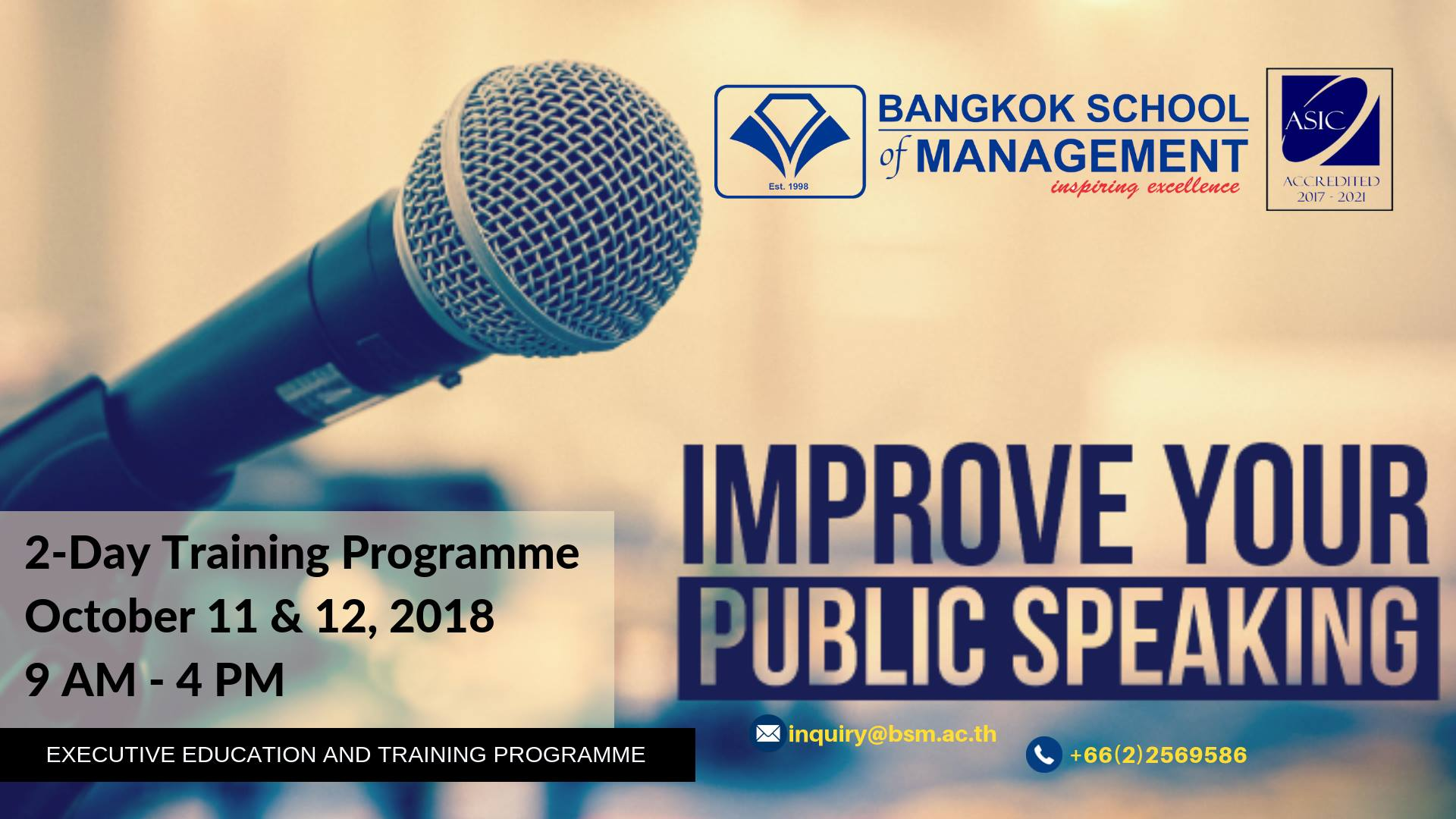 Date: October 11 &#8211; 12<br></br>Public Speaking
