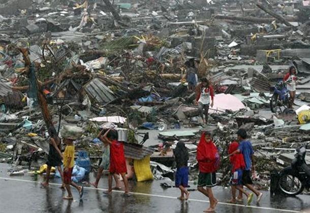 Un'immagine della devastazione del tifone Hayan-Yolanda nelle Filippine
