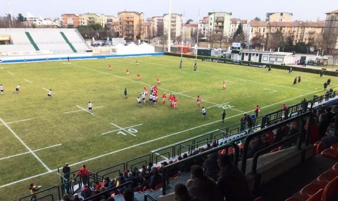 Rugby, un momento di gioco del match tra Brescia e Treviso. www.bsnews.it
