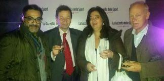 Giuseppe Spatola con Antonello Capone (cda di Inpgi), Daniela Stigliano (vice segretario Fnsi) e Carlo Gariboldi (vice presidente Casagit), foto da Facebook