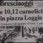 La prima pagina di Bresciaogg dopo lo scoppio della bomba del 28 maggio 1974