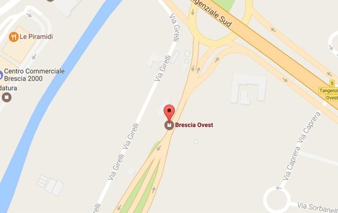 L'episodio è accaduto all'altezza del casello autostradale di Brescia Ovest, foto da Google Maps