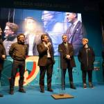 Brescia, il Castello sotto nuova luce grazie al sistema a Led di A2A, un momento della cerimonia di inaugurazione, foto da Facebook (Emilio Del Bono e Laura Castelletti)
