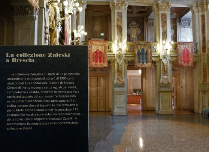 Diciotto tappeti della collezione del finanziere Romain Zaleski sono esposti nel Ridotto del Teatro Grande fino al 4 giugno 2017, foto di Enrica Recalcati, www.bsnews.it