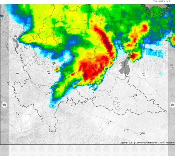 Il temporale in avvicinamento nel Bresciano