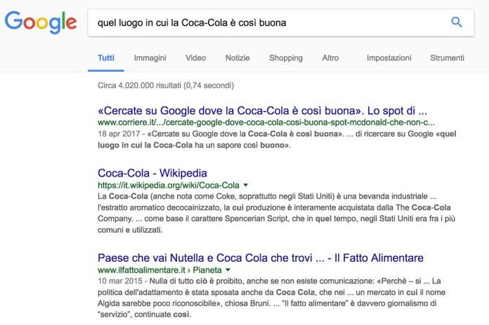 Lo spot di McDonald: Quel luogo in cui la Coca Cola è così buona (su Google.it)