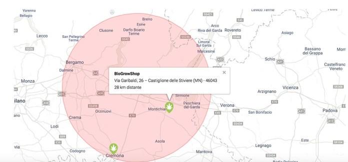La mappa dei punti vendita di Easy Joint vicino a Brescia e provincia