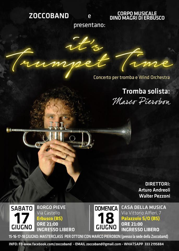 Marco Pierobon, uno dei più grandi trombettisti del panorama internazionale, la locandina dei concerti di Erbusco e Palazzolo