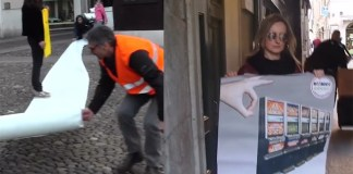 I militanti del Movimento 5 stelle misurano la distanza fra la sala slot e le chiese del centro di Brescia, foto da video YouTube