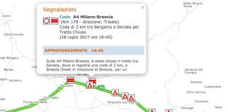 La mappa dell'incidente avvenuto oggi pomeriggio in A3, all'altezza di Seriate, fonte Autostrade per l'Italia