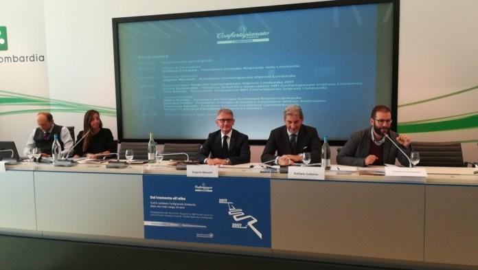 Il tavolo dei relatori della presentazione del 7° Rapporto dell'Osservatorio MPI di Confartigianato Lombardia, foto Confartigianato, www.bsnews.it