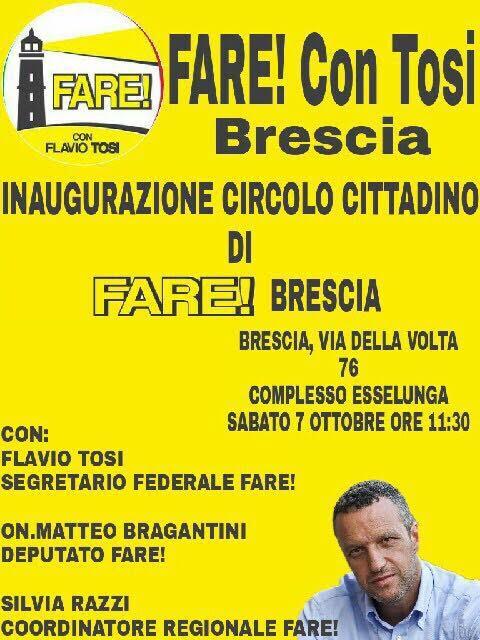 Il depliant della nuova iniziativa di Fare a Brescia