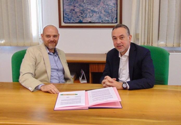 Il Presidente di Cogeme Dario Lazzaroni e l'Amministratore Delegato di LGH Massimiliano Masi, foto da Cogeme