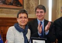 La professoressa Anna Maria Berenzi con il sindaco di Brescia Emilio Del Bono