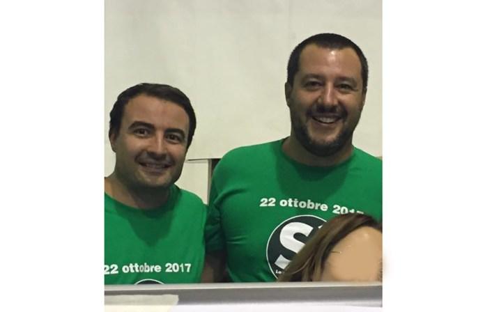 Paolo Sabbadini con il leader della Lega Matteo Salvini