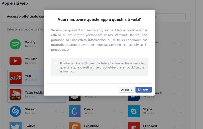 Guida disinstallare app di Facebook