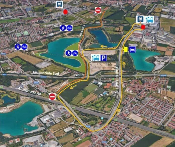 La mappa con gli accessi del nuovo Parco delle cave di Brescia