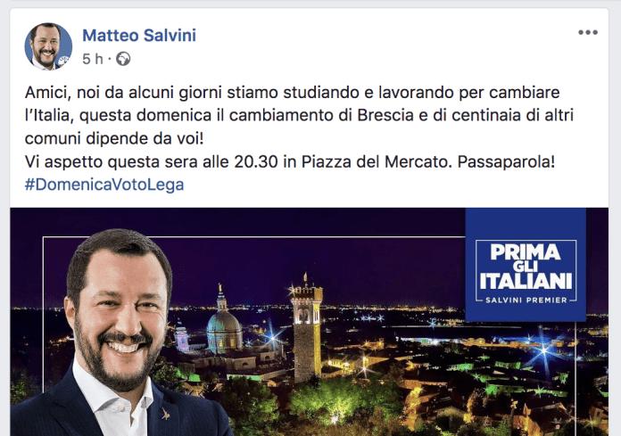 Lo screenshot del post sulla pagina Facebook ufficiale di Matteo Salvini