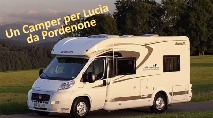 L'immagine della campagna per regalare un camper a Lucia da Pordenone