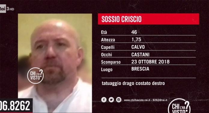 Sossio Criscio è scomparso da Brescia il 22 ottobre