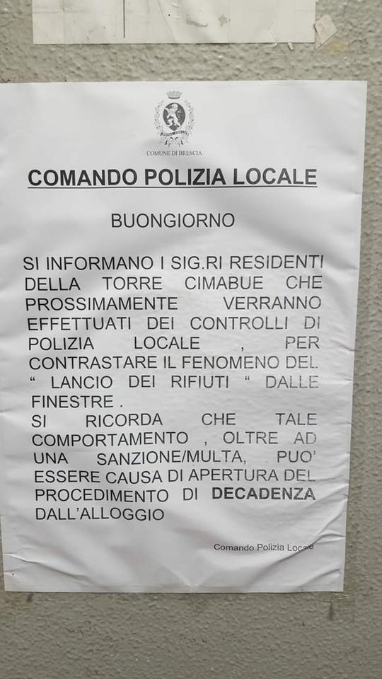 L'avviso del Comune ai residenti della Torre Cimabue di San Polo