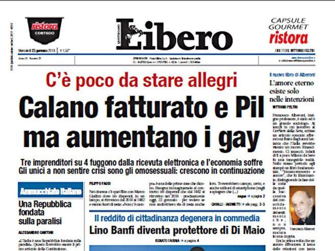 Il titolo di prima pagina del quotidiano Libero oggetto delle polemiche