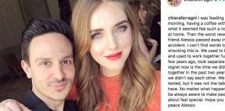 Il post e la foto di Chiara Ferragni con Alessio Sanzogni da Instagram