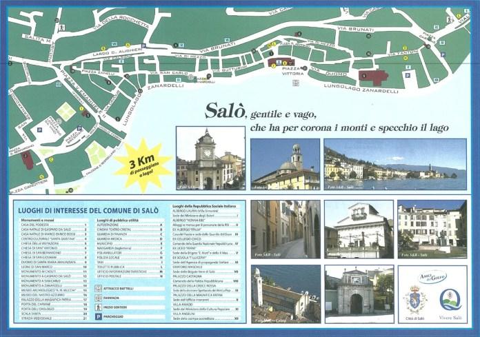 La mappa del centro di Salò e delle sue principali attrazioni turistiche