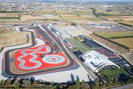 BRESCIA, ITALY - SEPTEMBER 03: Porsche Experience Center Franciacorta is seen from an aerial view on September 03, 2021 in Brescia, Italy. (Photo by Claudio Lavenia/Getty Images for Porsche Italia)