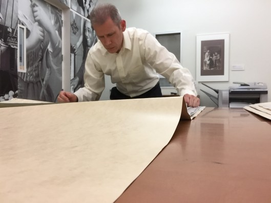 Author Reviewing Lockwood Greene Drawings in the Archives