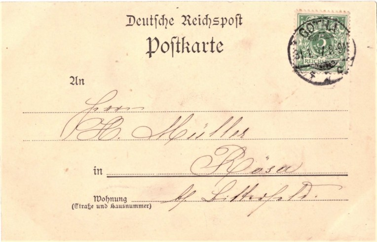 Nr. 2: Rückseite Marke 5 Pf. Ziffer/Krone, Michel 46, Stempel Gotha 1 (Hauptpost), 31.7.97. 8-9 V; ohne Ankunftsstempel