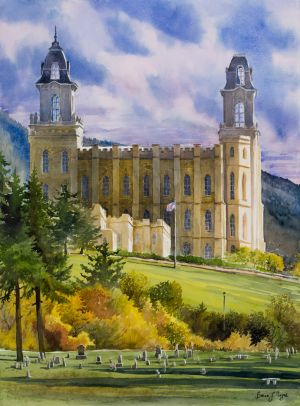 """Manti Temple, cemetery view"" watercolor giclee print on wc paper edition 50 23""x17"" 125.00"