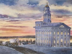 """Sunset on Nauvoo"" 30""x22"" watercolor"