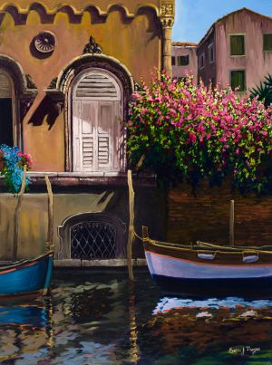 """Venetian Window and Boat"" Oil giclee on canvas, gallery wrap, 26""x20"" edition 50 175.00"