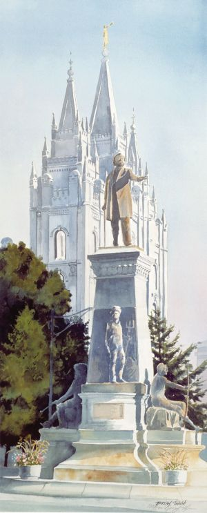 """Brigham Young and the House of the Lord"" SLC Temple, watercolor off-set lithograph edition 500 (only a few left,call for price) 25""x10"""